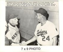 Walt Alston & Casey Stengel Dodgers 1963 Original Press Photo w/ Sporting News Sticker on Back Slight Creases 7x9