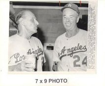 Walt Alston & Leo Durocher Dodgers 1963 Original Press Photo w/ Sporting News Sticker on Back Slight Creases 7x9
