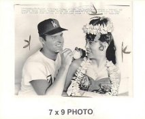 Don Drysdale LA Dodgers w/ Hawaiian Dancer Margie Timaan 1964 Original Press Photo w/ Sporting News Sticker on Back Slight Creases 7x9