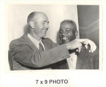 Walt Alston & Jackie Robinson LA Dodgers 1955 Original Press Photo w/ Sporting News Sticker on Back Slight Corner Crease 7x9