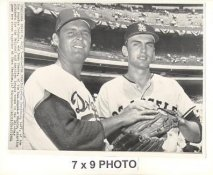Don Drysdale & Dean Chance LA Dodgers & Angels 1964 Original Press Photo w/ Sporting News Sticker on Back Slight Corner Crease 7x9
