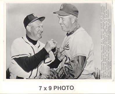Walt Alston & Charley Dressen LA Dodgers / Milwaukee Braves Managers 1960 Original Press Photo w/ Sporting News Sticker on Back Slight Corner Crease 7x9