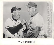 Walt Alston & Charley Dressen LA Dodgers / Milwaukee Braves Managers 1960 Original Press Photo w/ Sporting News Sticker on Back Slight Corner Crease 7x9