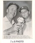 Walt Alston & Don Drysdale LA Dodgers 1959 World Series Original Press Photo w/ Sporting News Sticker on Back Slight Corner Crease 7x9