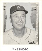Walt Alston LA Dodgers 1963 World Series Original Press Photo w/ Sporting News Sticker on Back Slight Creases 7x9
