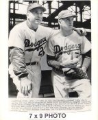 Walt Alston & Carl Erskine Dodgers 1954 Original Press Photo w/ Sporting News Sticker on Back Slight Creases 7x9