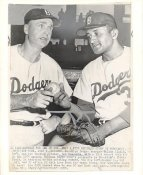 Walt Alston & Don Newcombe Dodgers 1955 Original Press Photo w/ Sporting News Sticker on Back Slight Creases 7x9.5