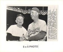 Walt Alston & Casey Stengel Dodgers 1955 Original Press Photo w/ Sporting News Sticker on Back Slight Creases 5x8