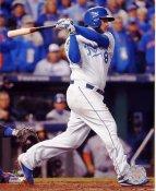 Mike Moustakas 2015 World Series Game 2 RBI Single Kansas City Royals SATIN 8X10 Photo