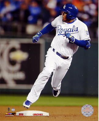 Alcides Escobar 2015 World Series Inside The Park Home Run Kansas City Royals SATIN 8X10 Photo