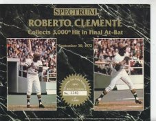 Roberto Clemente 3000th Hit Final at Bat Limited Numbered Spectrum No Gold Signature  8.25X10.5 Photo