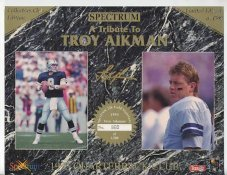 Troy Aikman Dallas Cowboys 1993 Quarterback Club Collectors Edition Limited Numbered Spectrum With Gold Signature (Tiny Corner Crease) 8.25X10.5 Photo