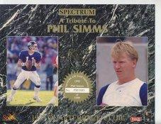 Phil Simms 1993 Quarterback Club Promo Version Spectrum With Gold Signature 8.25X10.5 Photo