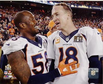Von Miller & Peyton Manning Super Bowl 50 Denver Broncos SATIN 8X10 Photo