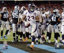 CJ Anderson Touch Down Run Super Bowl 50 Denver Broncos SATIN 8X10 Photo