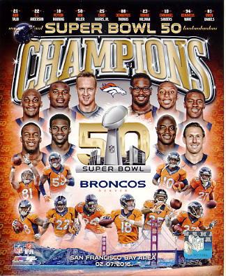 Denver Broncos Super Bowl 50 Champions Composite SATIN 8X10 Photo