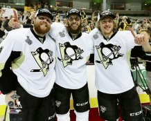 Carl Haglin, Nick Bonino & Phil Kessel  HBK Line Game 6 Celebration 2016 Stanley Cup Champs Pittsburgh Penguins SATIN 8x10 Photo