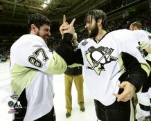 Sidney Crosby & Kris Letang Celebrate Game 6 2016 Stanley Cup Champs Pittsburgh Penguins SATIN 8x10 Photo LIMITED STOCK