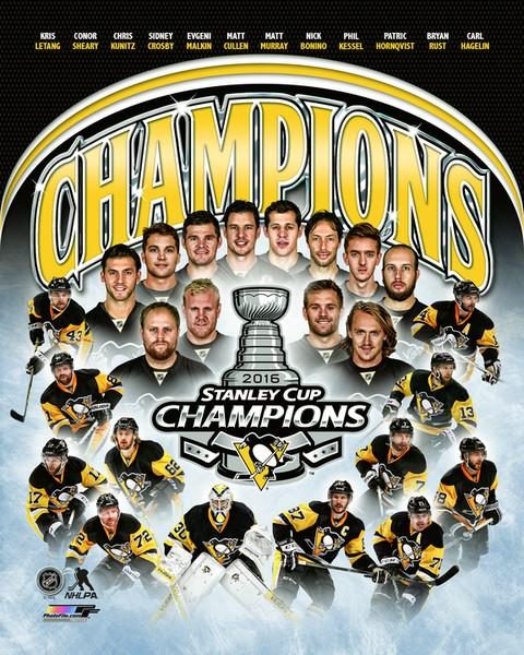 Penguins Team Composite 2016 Stanley Cup Champs Pittsburgh Penguins SATIN 8x10 Photo