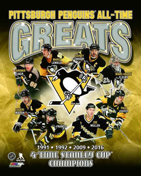 Penguins ALL TIME GREATS Composite 4 Time Stanley Cup Champs Pittsburgh Penguins SATIN 8x10 Photo