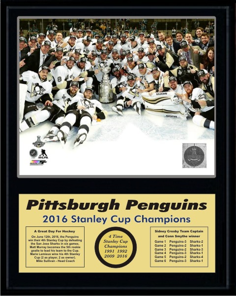 Penguins 2016 On Ice Celebration Stanley Cup Champions 12x15 MATTE BLACK Plaque - Discounts for Quantity Buyers
