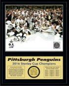Penguins 2016 On Ice Celebration Stanley Cup Champions 12x15 MATTE BLACK Plaque
