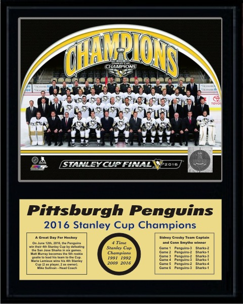Penguins 2016 Team Sit Down Stanley Cup Champions 12x15 MATTE BLACK Plaque - Discounts for Quantity Buyers