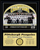Penguins 2016 Team Sit Down Stanley Cup Champions 12x15 MATTE BLACK Plaque