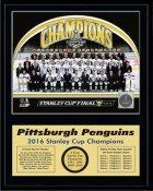 Penguins 2016 Team Sit Down Stanley Cup Champions 12x15 MATTE BLACK Plaque - Discounts for Quantity Buyers