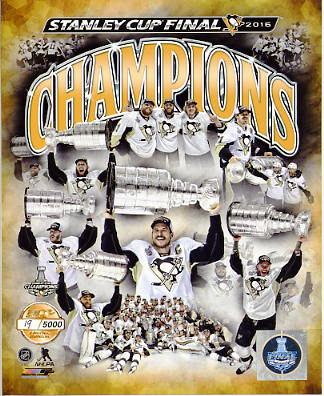 Penguins Team Composite 2016 Stanley Cup Champs Pittsburgh Penguins Numbered Limited Edition SATIN 8x10 Photo