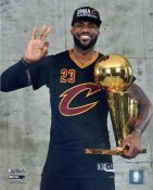 Lebron James 2016 NBA Finals with Champs Trophy Cleveland Cavaliers SATIN 8X10 Photo LIMITED STOCK