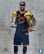 Lebron James 2016 NBA Finals with Champs & MVP Trophy Cleveland Cavaliers SATIN 8X10 Photo LIMITED STOCK