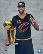 Tristan Thompson 2016 Finals with Champs Trophy Cleveland Cavaliers SATIN 8X10 Photo LIMITED STOCK