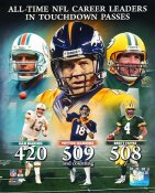 Dan Marino, Peyton Manning, Brett Favre All Time Career Leaders in T.D. Passes LIMITED STOCK SATIN 8X10
