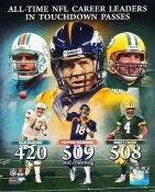 Dan Marino, Peyton Manning, Brett Favre All Time Career Leaders in T.D. Passes LIMITED STOCK SATIN 8X10