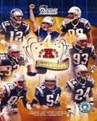 Ty Law, Adam Vinatieri, Tom Brady, Tedy Bruschi LIMITED STOCK 2003 Patriots AFC Champs 8X10 Photo