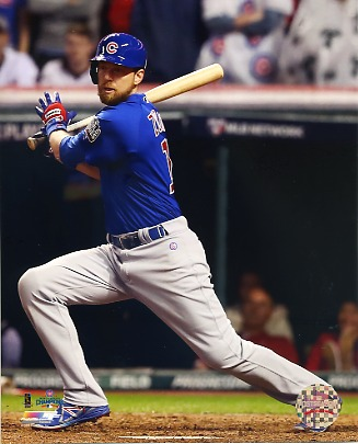 Ben Zobrist Game 7 R.B.I. Double 2016 World Series Chicago Cubs SATIN 8X10 Photo
