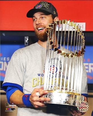 Ben Zobrist 2016 World Series Trophy Chicago Cubs SATIN 8X10 Photo