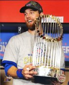 Ben Zobrist 2016 World Series Trophy Chicago Cubs SATIN 8X10 Photo