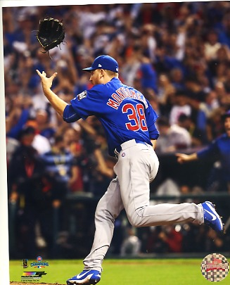 Mike Montgomery Game 7 Final Out 2016 World Series Chicago Cubs SATIN 8X10 Photo