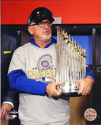 Joe Maddon 2016 World Series Championship Trophy Chicago Cubs SATIN 8X10 Photo