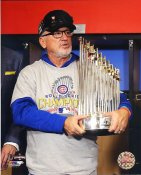 Joe Maddon 2016 World Series Championship Trophy Chicago Cubs SATIN 8X10 Photo