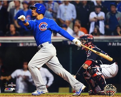 Willson Contreras Game 7 R.B.I. Double 2016 World Series Chicago Cubs SATIN 8X10 Photo