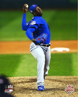 Aroldis Chapman Game 2 World Series 2016 Chicago Cubs SATIN 8X10 Photo