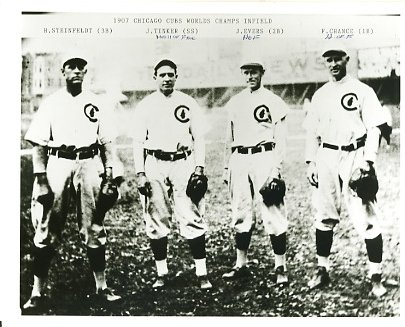 Harry Steinfeldt, Joe Tinker, Johnny Evers & Frank Chance 1907 Chicago Cubs Slight Damage with HOF Writing on Photo LIMITED STOCK 8X10 Photo