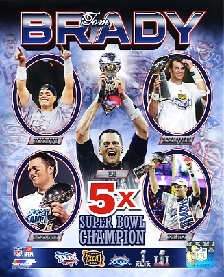 Tom Brady New England Patriots 5X SB Champion Super Bowl 51 SATIN 8x10 Photo
