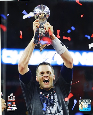 Tom Brady With Lombardi Trophy New England Patriots Super Bowl 51 SATIN 8x10 Photo