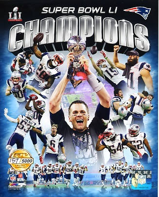 New England Patriots Super Bowl 51 Champions Numbered Limited Edition SATIN 8x10 Photo