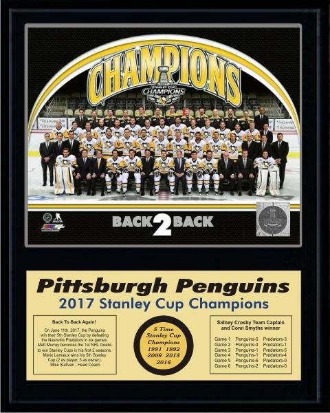 Penguins 2017 Team Sit Down Stanley Cup Champions 12x15 MATTE BLACK Plaque - Discounts for Quantity Buyers