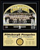 Penguins 2017 Team Sit Down Stanley Cup Champions 12x15 MATTE BLACK Plaque